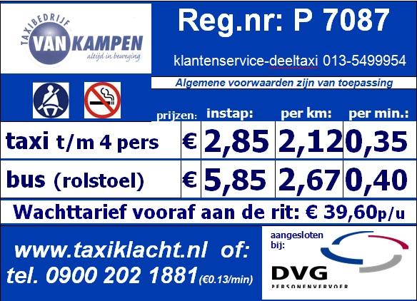 Tariefkaart taxi van kampen